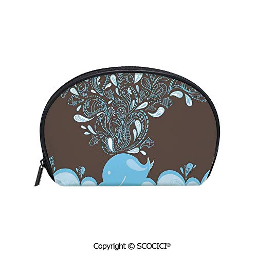 SCOCICI Printed Small Travel Toiletry Cosmetic Pouch Baloon Like Whale in the Ocean with Bubbles Cartoon Batik Tribal Style Image Handy Daily Storage Makeup Bag ()