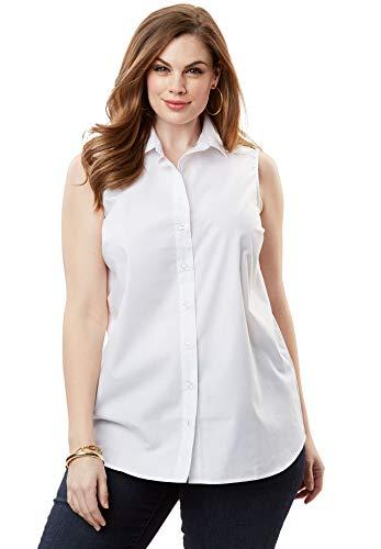 Roamans Women's Plus Size Kate Sleeveless Shirt - White, 16 W