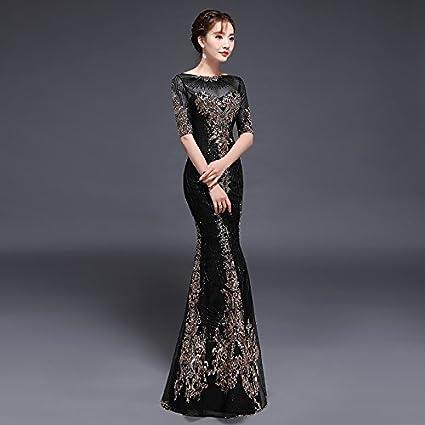 31ce23e6c JKJHAH Vestido De Cola De Pez Vestido De Noche Banquete Negro Vestido De  Pasarela