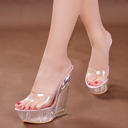 Pink cm 1 Zanpa Mules Wedges Heel 14 Women Fashion RqqaB1