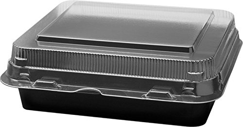 Solo 851611-PS94 6 in Black/Clear PS Plastic Hinged Container, 6.22 X 5.91 in (Case of 200)