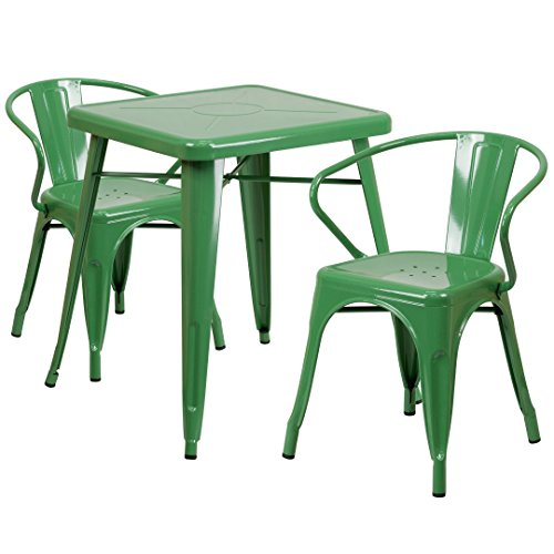 MFO 23.75'' Square Green Metal Indoor-Outdoor Table Set with 2 Arm Chairs