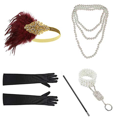 Gatsby Party Dresses with Accessories Set for Women 1920s Headband Necklace Gloves Cigarette Holder Flapper Costume (Gold)