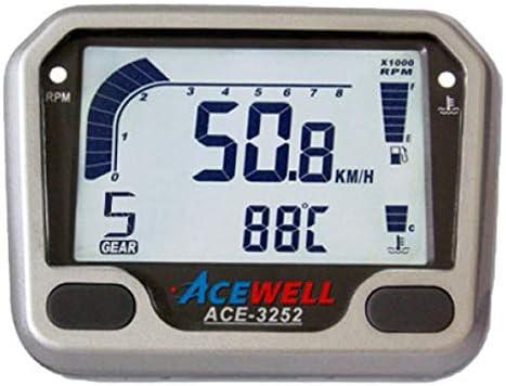Ace 3252 Multifunktionelles Motorrad Digitalinstrument Silber Tacho Drehzahlmesser Uhr Temper Ganganzeige Stück Auto