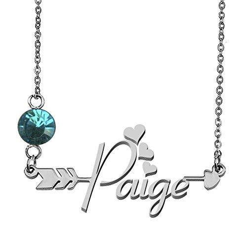- GR859C Custom Nameplate Birthstone Necklace Paige Pendant Necklace