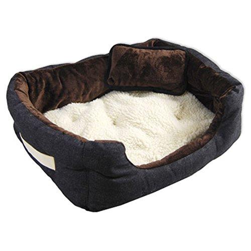 Hundebett Tierbett Braun Lammfellimitat ca. 60x48x17cm mit Innenkissen + Schmusekissen + Pipi-Schutz-Unterlage