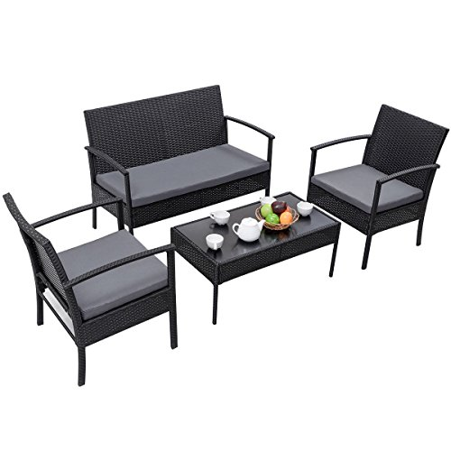 Tangkula 4 PC Outdoor Wicker Furniture Set Patio Garden Pool Rattan Loveseat Sofa Cushioned (Black) by Tangkula