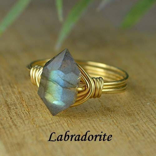 Made to size 4-14 Yellow or Rose Gold Filled Wire Wrapped Ring Double Terminated Rose Quartz Gemstone Bead and Sterling Silver