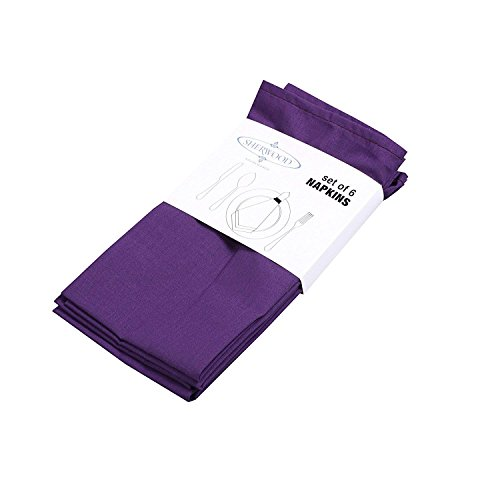 (Sherwood 6 Pack Polyester Cotton Dinner Napkins 15''x 15'' Lavender Durable Hotel Quality Table Cloth-Easy Clean Machine Washable (6, Purple))