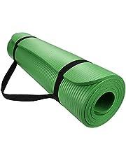بساط لرياضة اليوجا بسماكة 15 ملم مقاومة للانزلاق لممارسة تمارين اللياقة البدنية والبيلاتيس، مبطنة وسميكة (لون أخضر)