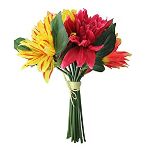 "Allstate 12.5"" Red and Yellow Artificial Decorative Elegant Dahlia Flower Bouquet 97"