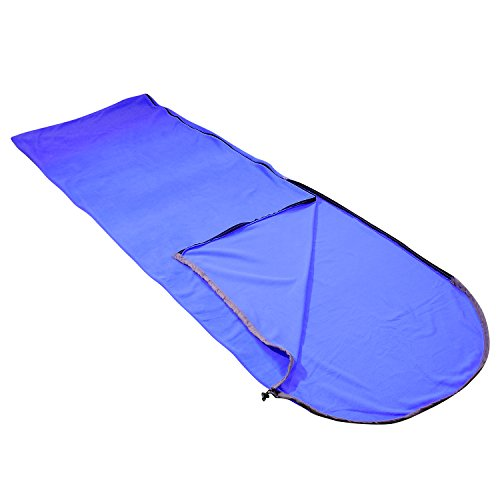 Fleece Winter Liner (Aircee (TM) Hooded Polar Fleece Sleeping Bag For Summer Camping or Liner For Winter, Micro-Fleece Blanket. (Dark Blue))