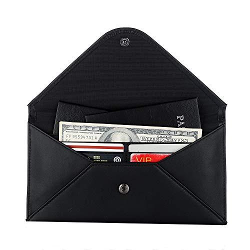 RFID Travel Wallet & Passport Wallet Holder Multiple Real Leather Envelope Document Organizer Clutches for Women Men Cover Black