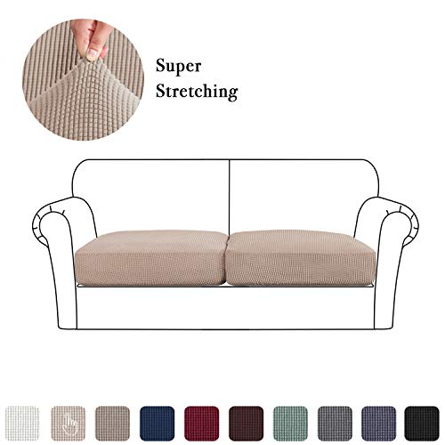 Loveseat Cushion Slipcover Set of 2, High Stretch Couch Seat Coat Super Soft Fabric Sofa Covers Skid Repellent (2 Pieces Cushion Covers, Sand)