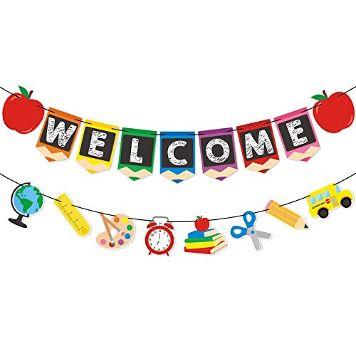 Boecn Welcome Banner Kids Back to School Theme Party Apple Pencil Stationery Garland First Day New Grade of Class Pennant Ideas Photo Props Decoration