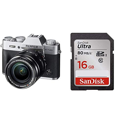 Fujifilm X-T20 Mirrorless Digital Camera w/XF18-55mm Lens-Silver and SanDisk 16GB Class 10 SDHC UHS-I Up to 80MB/s Memory Card (Fujifilm 16gb Sdhc Class 10 Memory Card)