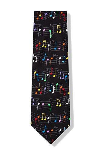 Men's Black Rainbow Musical Music Notes Necktie Tie Neckwear