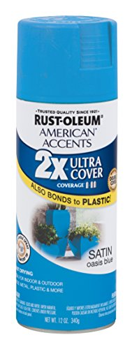 Rust-Oleum American Accents Ultra Cover  spray paint, Oasis Blue(Satin) - Oasis Accent