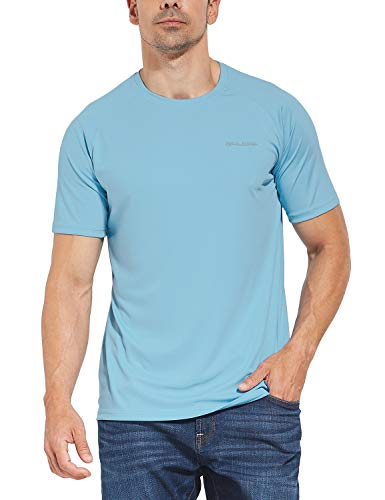 BALEAF Men's UPF 50+ Outdoor Running Workout Short-Sleeve T-Shirt Light Blue Size XL