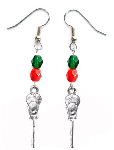 ''Lacrosse Stick & Ball'' Lacrosse Earrings (Team Colors Forest Green & Red) by Edge Sports