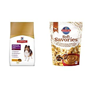 Hill's Science Diet Adult Sensitive Stomach & Skin Chicken Meal & Barley Recipe Dry Dog Food (4 pound bag) and Soft Savories with Peanut Butter & Banana Dog Treats (8 ounce bag)