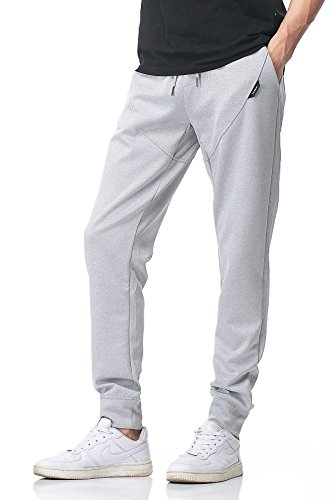 Stretch Cord Pant - Men's Track Pants, Stretch Sportswear Slim Fit Activewear Sport Jogger PH-28A(M, Grey)