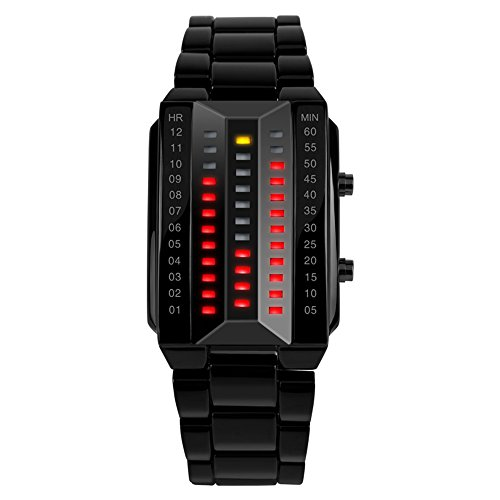 Tonshen Womens Fashion Binary Digital Watches Black Stainless Steel Unique 3D Case Matrix Red Led Light Fashion Creative Waterproof Outdoor Sports Cool Wrist Watches For Women Lady And Girl