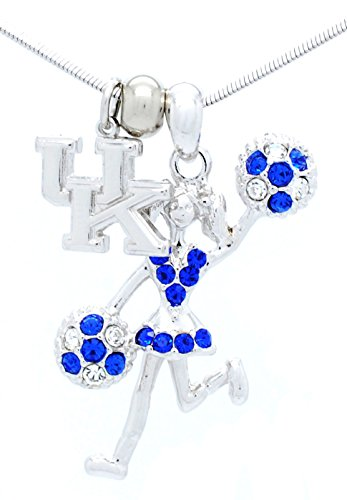 CHEERLEADER NECKLACE - CHEER HALF POMS NECKLACE - CRYSTAL MOVING CHEER NECKLACE - KENTUCKY WILDCATS