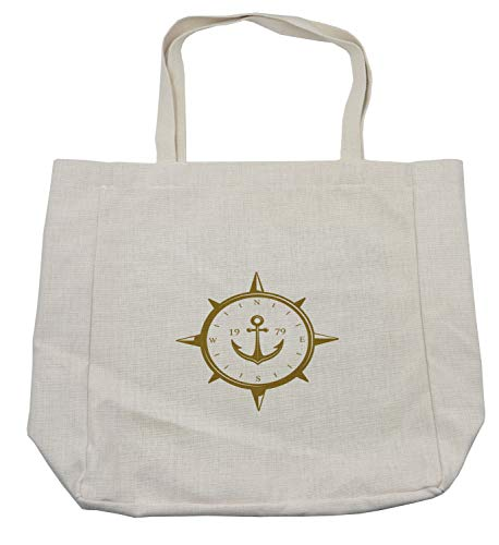 Lunarable Vintage Nautical Tattoo Shopping Bag, Cardinal Directions Wind Rose Compass on Plain Background, Eco-Friendly Reusable Bag for Groceries Beach and More, 15.5