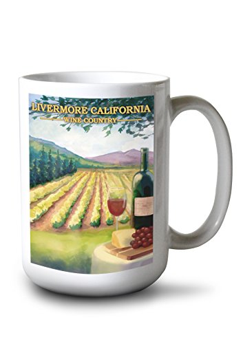 Livermore, California Wine Country 15-ounce White Ceramic Coffee Mug by Lantern Press
