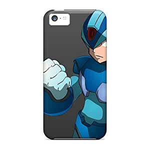 Shock Absorption Hard Phone Covers For Iphone 5c With Provide Private Custom Stylish Megaman Pattern CharlesPoirier
