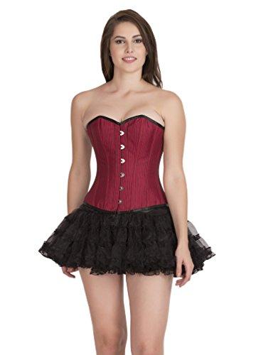 チューブのため怠感Red Poly Cotton Lining Goth Burlesque Waist Training Bustier Overbust Corset Top