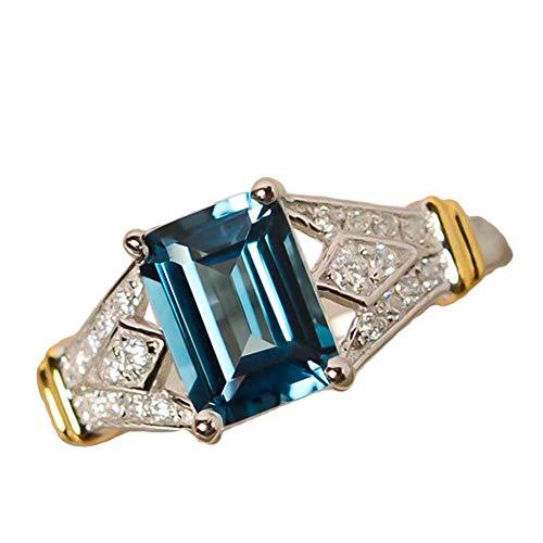 blackbirdlee Fashion Rectangle Ring, Cubic Zircon Rhinestone Bridal Wedding Engagement Ring, Dance Cocktail Party Dating Night Bar Bridal Jewelry, Amazing Charm Gift Green Us7