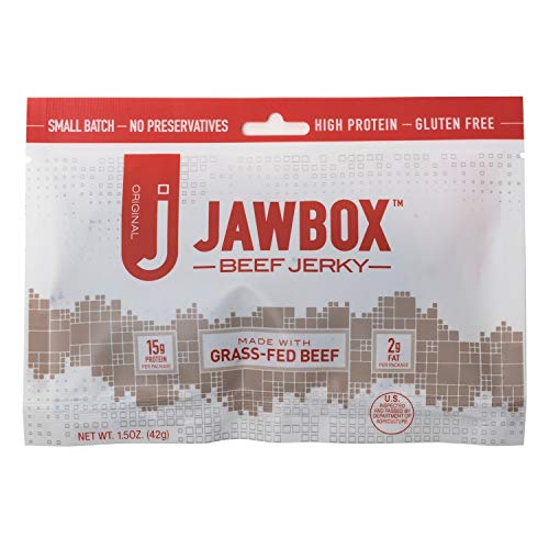 Jawbox Beef Jerky, Original - USA Made from Free-Roaming Grass-Fed Cows - All-Natural, Lean Protein, Dry, No MSG, Gluten Free, Bulk Snack Packs - Real Meat. Superior Flavor. (6)