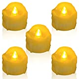 Homemory 12PCS Amber Yellow Realistic Dripping LED Tea Lights Battery-Operated Flameless Flickering Fake Electric Candles for Wedding, Party, Home Decor and Festival Celebration