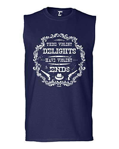 Tcombo These Violent Delights Have Violent Ends Men's Sleeveless Shirt (Navy, Large)