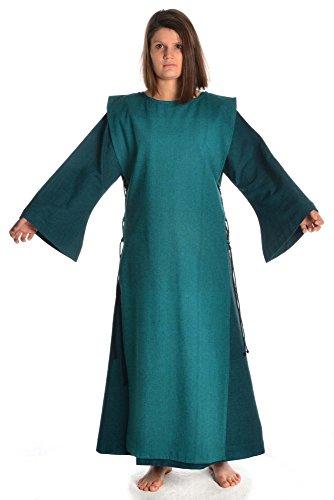 HEMAD Damenkleid S Skapulier Damen mit mit XL grün Leinenstruktur Kleid grün grün Mittelalter Baumwolle BWqrwBaR