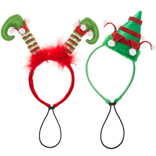 EXPAWLORER 2Pcs Holiday Dog Headband for Christmas- Adorable