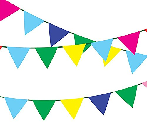 owTop Multicolor Nylon Fabric Pennant Banner For Party Decorations,Grand Opening,Festival,250 Ft (Grand Opening Pennants)