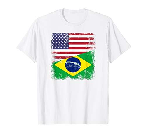 (Half Brazilian Flag T-Shirt | Vintage Brazil USA Gift)