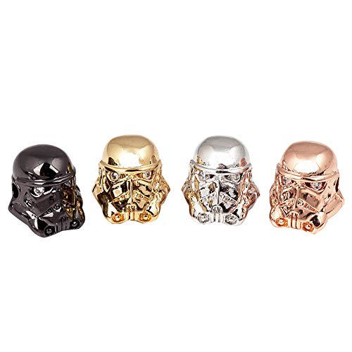 PandaHall 10pcs Mixed Color Stormtrooper Helmet Brass Micro Pave Cubic Zirconia Beads for Men Original Bracelet DIY Jewelry Making ()