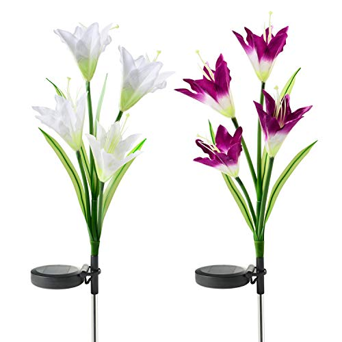 UPSTONE Outdoor Solar Garden Lights LED Solar Garden Decorations Lights Outdoor Path Light, In-Ground Lights, Outdoor Yard Decor Flowers for Patio Backyard Gardening Gifts (2 Packs Purple and White)
