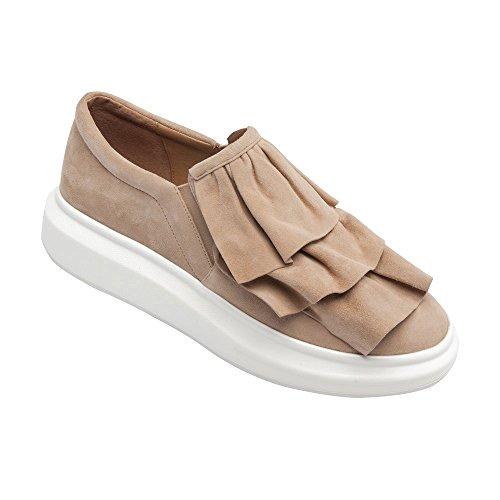 Linea Paolo Lolo Womens Sneakers - Slip-On Platform Sneaker With Ruffles Dusty Rose Suede