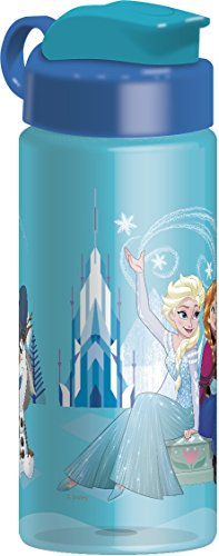 Zak Designs BPA Free 16.5 oz Boys & Girls Licensed Character Cold Water Bottles -Carry Loop & Snap Lid (Frozen Elsa & Anna)
