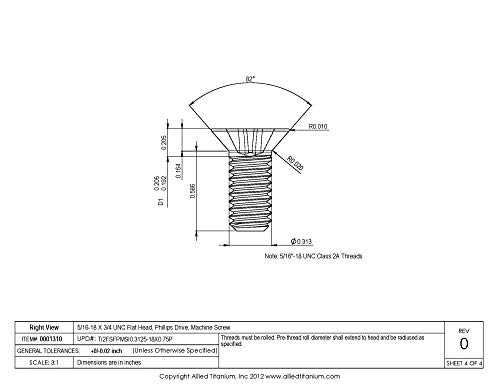 Grade 2 Pack of 50 Phillips Drive Allied Titanium 0001292, CP #8-32 X 1 UNC Flat Head Titanium Machine Screw