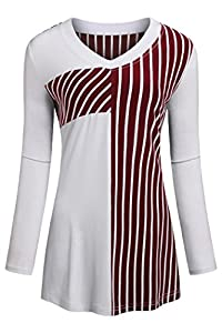 BEPEI Womens Long Sleeves Striped Tunic Flared V Neck Tops Casual Comfy Blouses