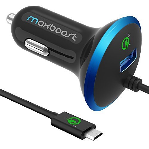 Quick Charge 3.0 Car Charger, Maxboost 36W USB Smart Port w/QC 3.0 Built-in MicroUSB Cable for Galaxy S9 S8 S7 Edge Note 9 8, HP Elite x3,HTC One A9,10,LG G5 G6 V20,ZTE Axon,Zenfone,iPhone Xs XR Plus