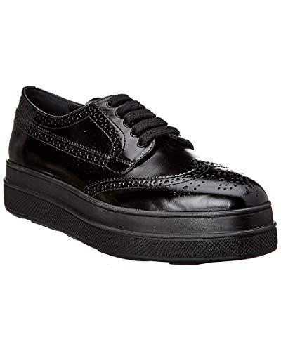 - Prada Leather Platform Brogue, 39.5, Black