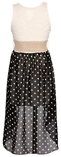 Wonder Girl Polka Dots Big Girls' Hi-Low Chiffon Dress Lace Top Woven Belt Set 12 Black