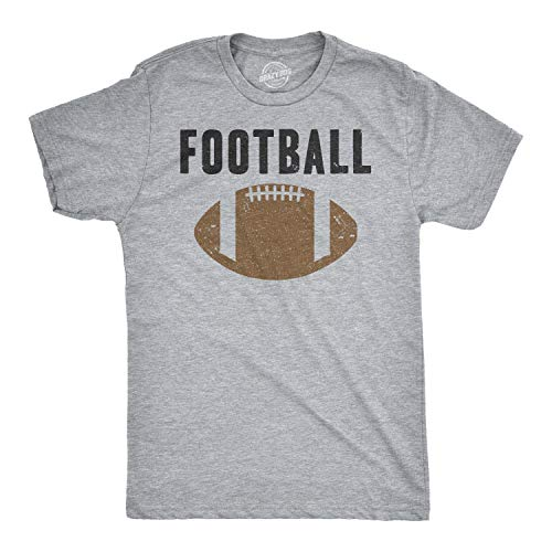 (Mens Vintage Football Text Sports Distressed Football Laces Sporty T Shirt (Heather Grey) -)